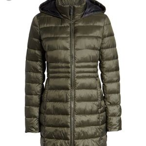 New Halogen Side Lace-Up Hooded Coat Olive Green